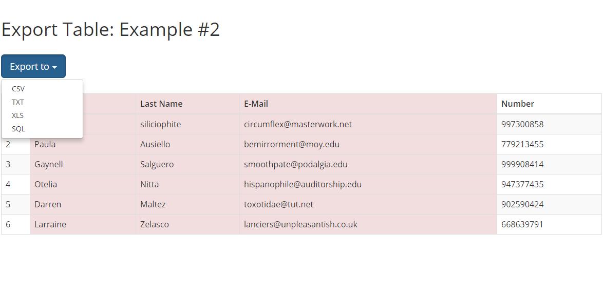 bootstrap表格导出Excel文件 jQuery插件让表格数据支持导出多格式文件