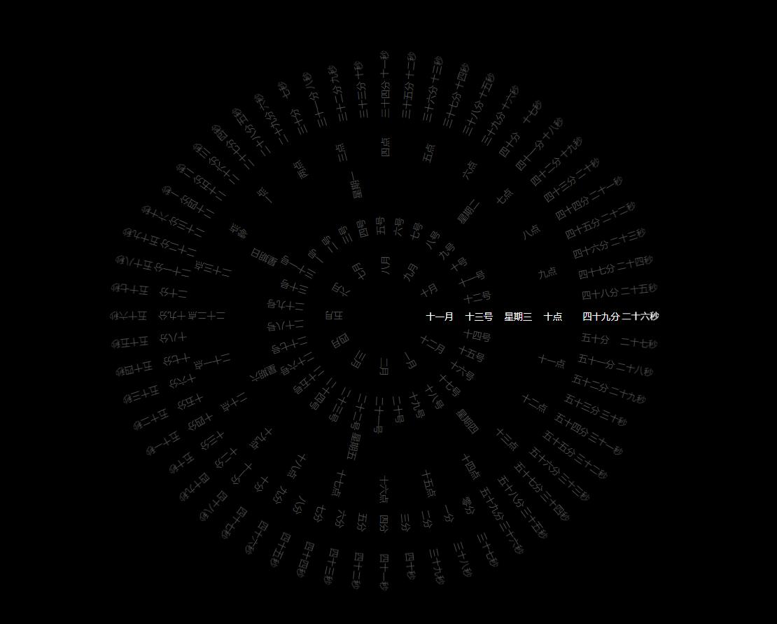原生JS文字罗盘时钟代码 纯JavaScript制作抖音非常火的时间罗盘组件 下载